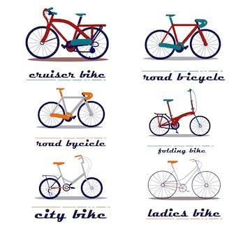 Set di illustrazione vettoriale di biciclette
