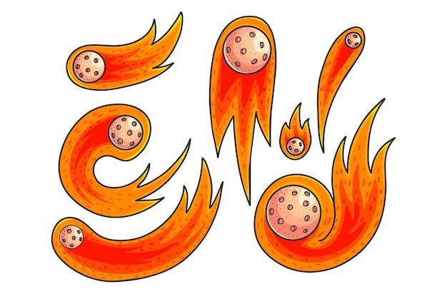 Set di illustrazioni a colori disegnati a mano comete