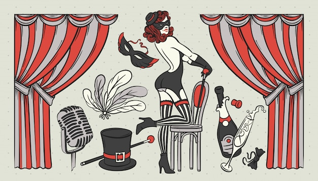 Set di illustrazioni a tema cabaret