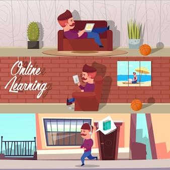 Set di illustrazioni di apprendimento online