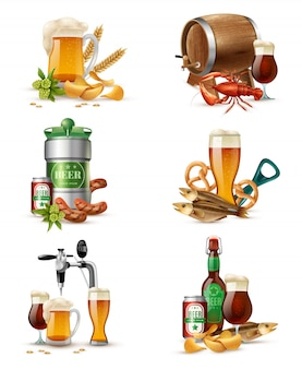 Set di illustrazioni di birra alla spina
