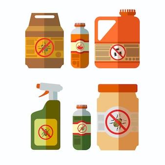 Set di illustrazioni di bottiglie di pesticidi