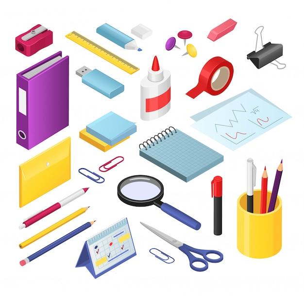 Set di illustrazioni di cancelleria isometrica, forniture di strumenti di cancelleria per ufficio o scuola di cartone animato, penna o pennarello, gomma, temperamatite