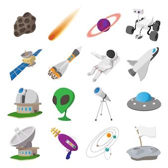 Set di illustrazioni di cartone animato spaziale. simboli vettoriali