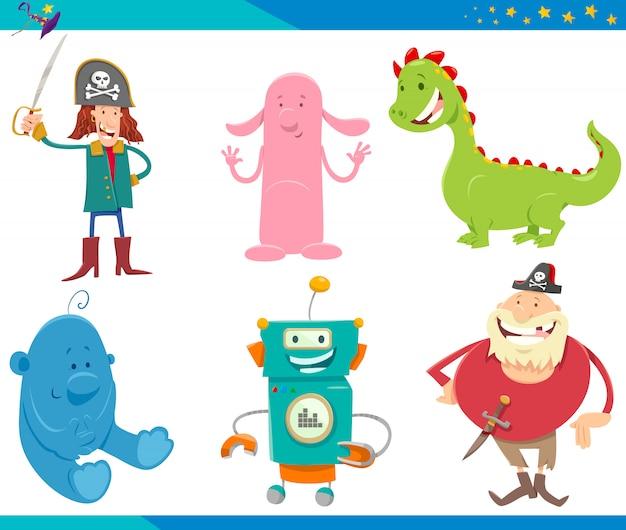 Set di illustrazioni di cartoni animati di personaggi di fantasia