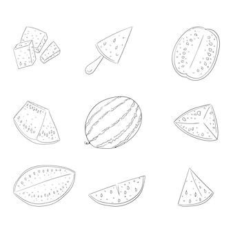 Set di illustrazioni di contorno intero e affettato anguria