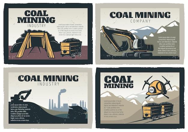 Set di illustrazioni di disegni di estrazione del carbone