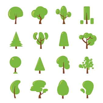 Set di illustrazioni di ecologia. foto piatte di albero verde. foresta di piante, vettore di raccolta di ambiente