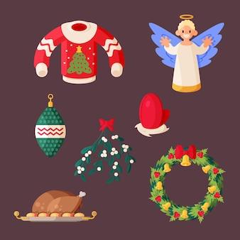 Set di illustrazioni di elementi natalizi design piatto