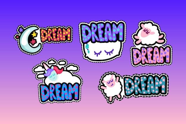 Set di illustrazioni di telaio cucito lettering sogno
