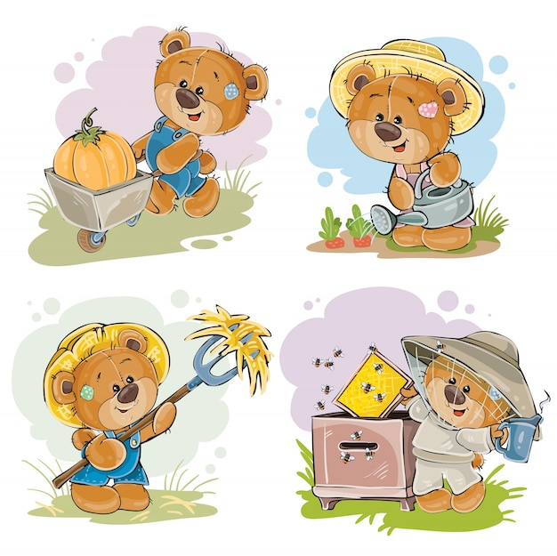 Set di illustrazioni di vettore di apicoltore di orsacchiotto, agricoltore.