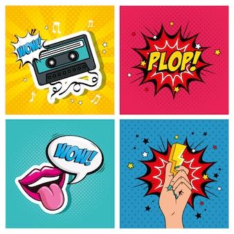 Set di illustrazioni ed espressioni in stile pop art