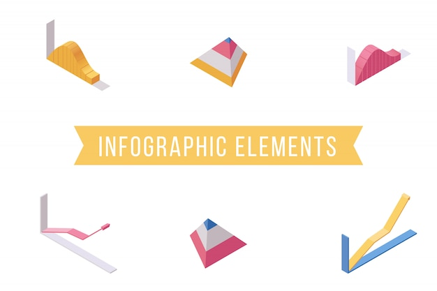 Set di illustrazioni isometriche piane di elementi di infografica
