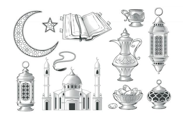 Set di illustrazioni musulmane vettoriali, icone per la preghiera e kareem ramadan nello stile dell'incisione