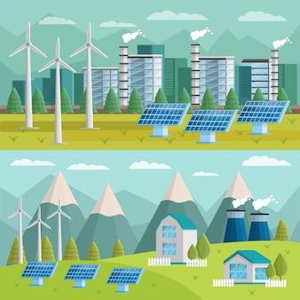Set di illustrazioni ortogonali di ecologia