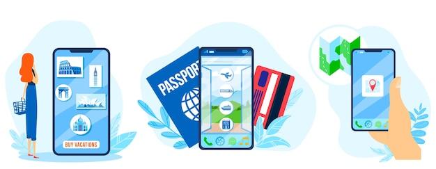 Set di illustrazioni per app di viaggio.