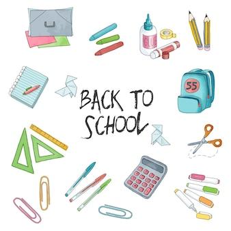 Set di illustrazioni per la scuola e l'istruzione