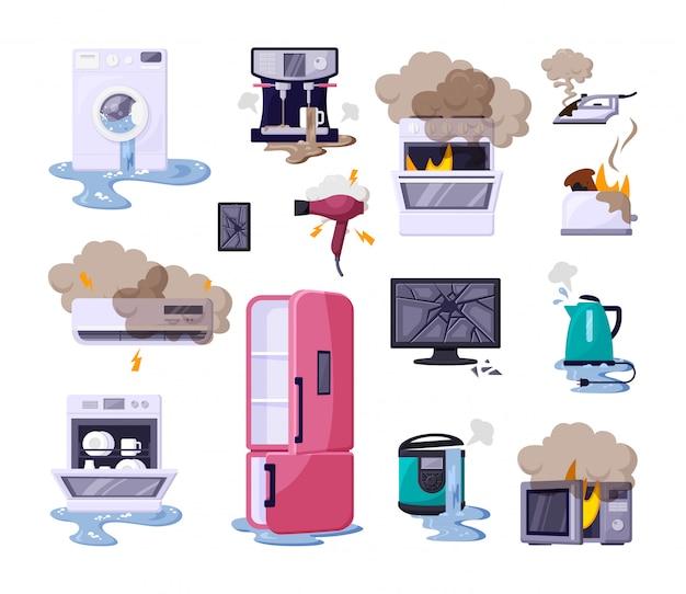 Set di illustrazioni piane di elettrodomestici rotti