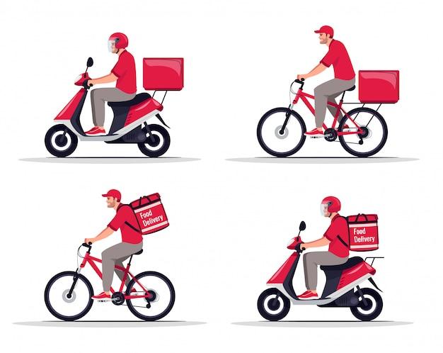 Set di illustrazioni piane di trasporto di merci e alimenti