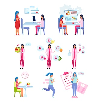 Set di illustrazioni piatte stile di vita sano.
