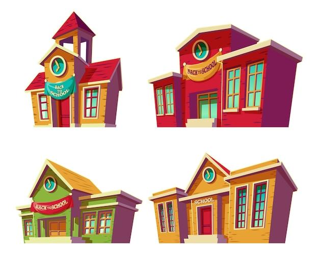 Set di illustrazioni vettoriali cartone animato di varie istituzioni educative a colori, scuole.