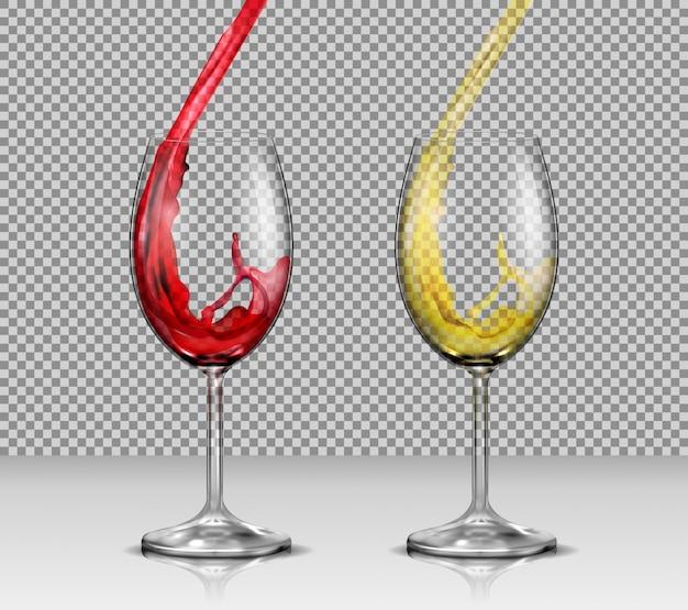Set di illustrazioni vettoriali di bicchieri di vino trasparente di vino con vino bianco e rosso versando in loro