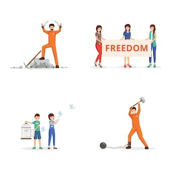 Set di illustrazioni vettoriali di combattimento per la libertà. attivisti femminili con cartello in dimostrazione