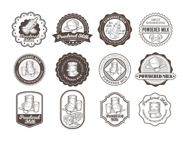 Set di illustrazioni vettoriali di distintivi di latte secco.