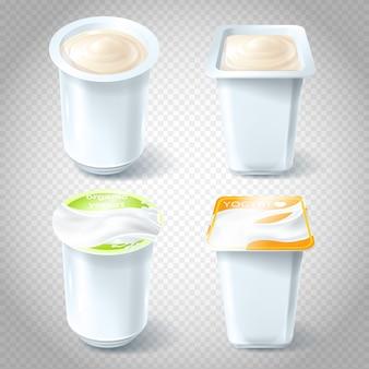 Set di illustrazioni vettoriali di tazze di yogurt di plastica.