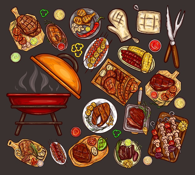 Set di illustrazioni vettoriali, elementi per barbecue