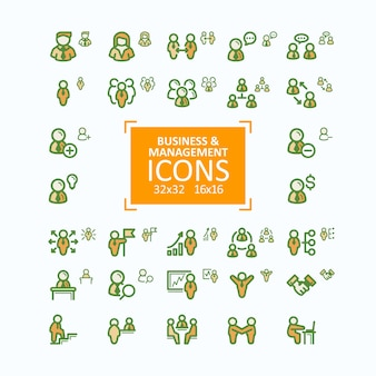 Set di illustrazioni vettoriali icone di linea sottile, raccolta di icone di business people, gestione del personale