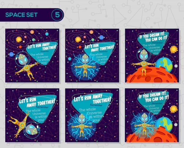 Set di illustrazioni vettoriali in stile piano sullo spazio esterno.