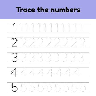 Set di illustrazioni vettoriali. numero di linea traccia per bambini dell'asilo e di un preshool.