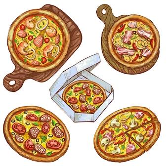 Set di illustrazioni vettoriali pizza intera e fetta, pizza su una tavola di legno, pizza in una scatola per la consegna.