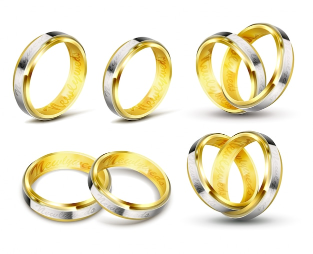 Set di illustrazioni vettoriali realistiche di anelli di nozze d'oro con incisione