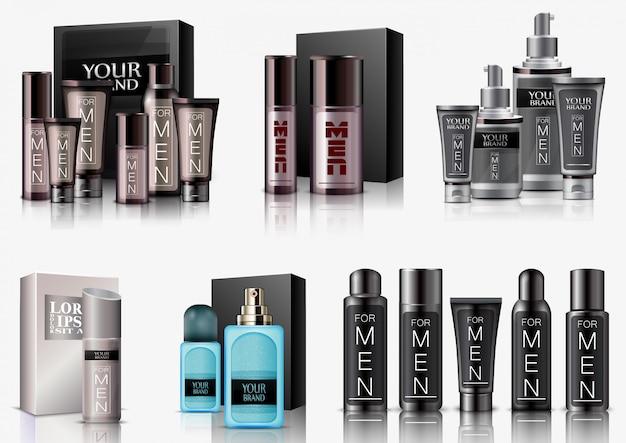 Set di imballaggio cosmetico uomini su priorità bassa bianca