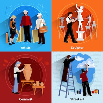 Set di immagini 2x2 piatte di artisti scultori ceramisti e pittori di street art