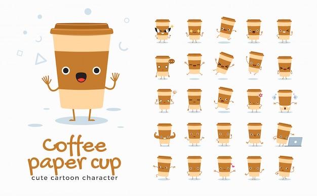 Set di immagini dei cartoni animati di tazza di caffè. illustrazione.