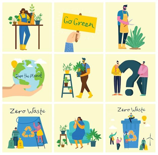 Set di immagini di ambiente di salvataggio eco. persone che si prendono cura del pianeta collage.