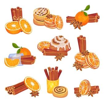 Set di immagini di bastoncini di cannella con fette di arance e biscotti con glassa.
