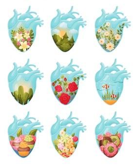 Set di immagini di fiori e dolci dentro il cuore.