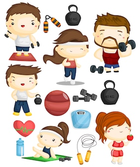 Set di immagini di fitness