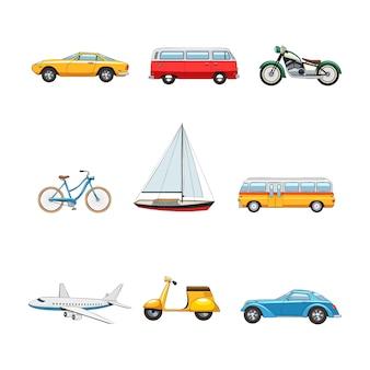 Set di immagini di trasporto comico flat di auto furgone moto yacht yacht bus scooter isolato v