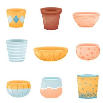 Set di immagini di vasi di fiori.