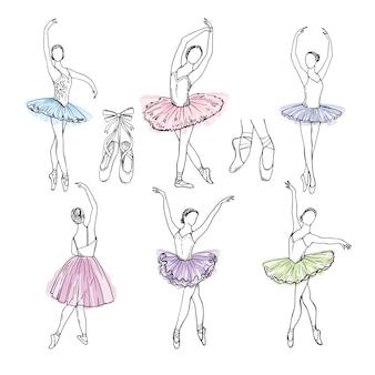 Set di immagini disegnate a mano artistica del tema del teatro. ballerine che ballano
