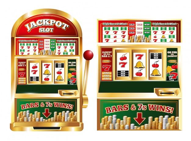 Set di immagini frontale isolato macchina di jackpot di slot di poker