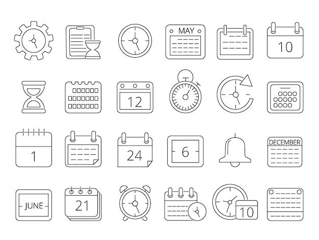 Set di immagini mono linea di simboli di gestione del tempo
