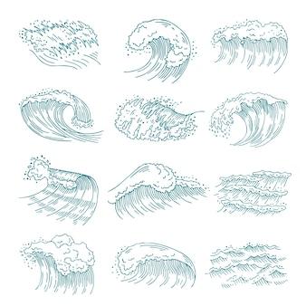 Set di immagini monocromatiche di onde marine con spruzzi diversi.