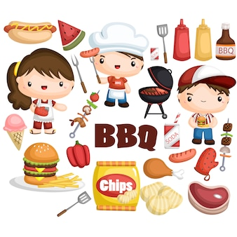 Set di immagini per barbecue