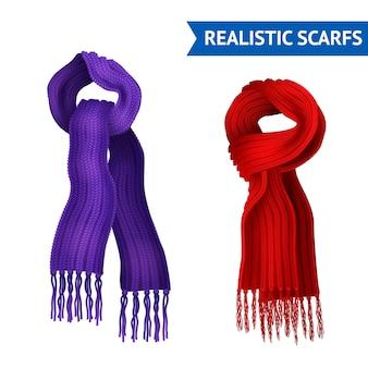 Set di immagini realistiche 3d di 2 sciarpa a maglia viola e colore rosso legato